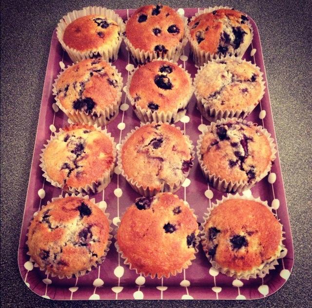 Muffins myrtilles et pépites chocolat blanc