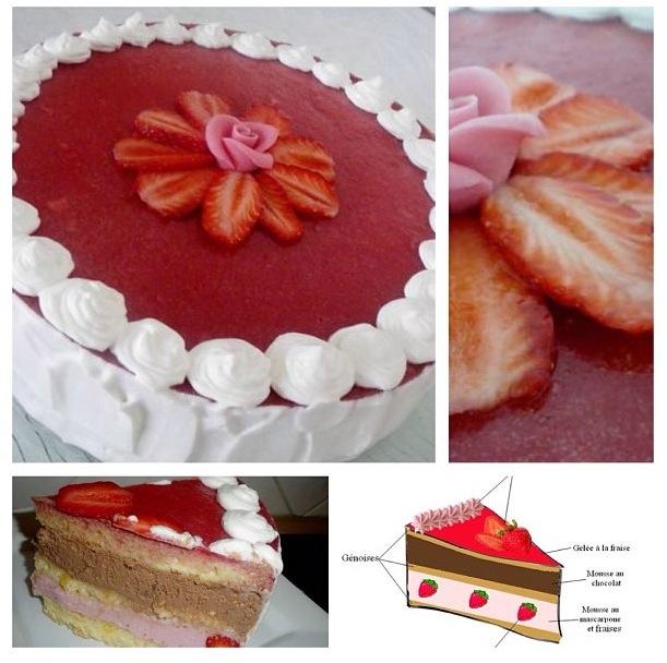 Gâteau fraise-chocolat