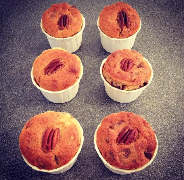 Muffins choc' banane pécans