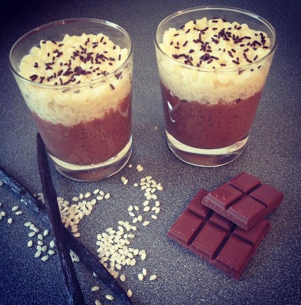 Riz au lais façon chocolat liégeois