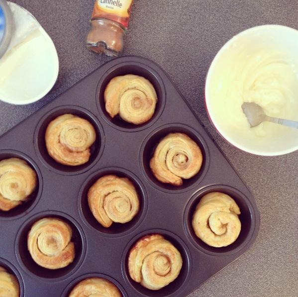 Cinnamon roll après cuisson