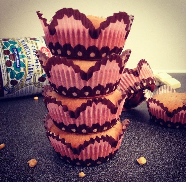 Muffins crème de marrons, choco et noisettes