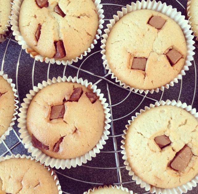 Muffins au lait de coco et pralinoise