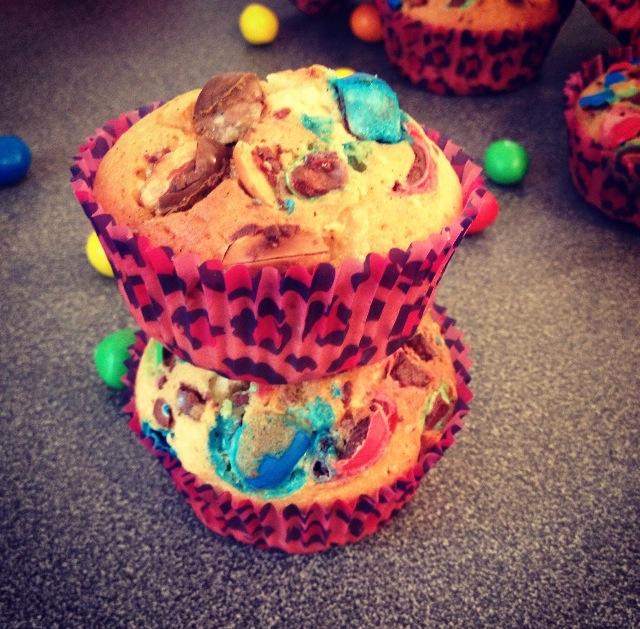 Muffins m&m's/ pâte à tartiner