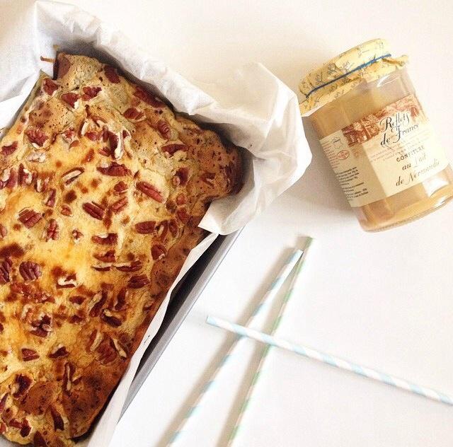 Brownie marbré mascarpone,confiture  de lait et noix de pécans