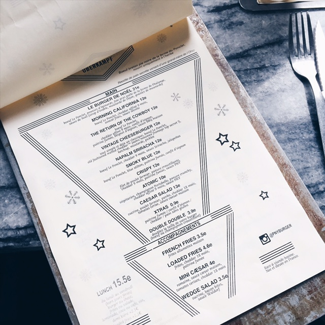 Menu restaurant PNY